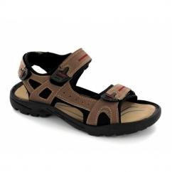 ROLAND Mens Faux Suede Triple Velcro Sports Sandals Brown