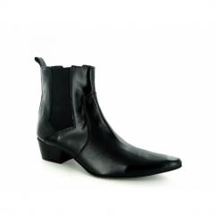 ROMEO Mens Cuban Heel Winklepicker Chelsea Boots Black