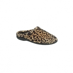 CARMEN Ladies Warm Lined Mule Slippers Leopard