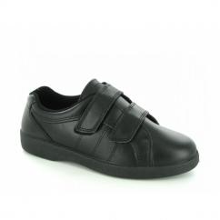 NAPOLI Ladies Velcro Wide E Fit Leather Shoes Black