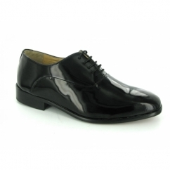 Mens Patent Leather Evening Oxford Shoes Black (Wide Fit)