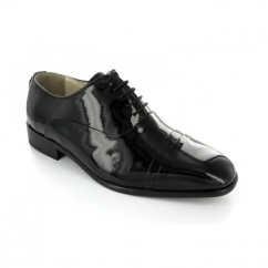 Mens Patent Leather Folded Cap Oxford Shoes Black (Wide Fit)
