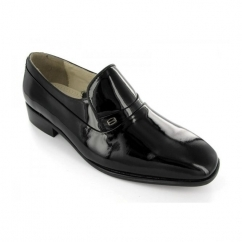Mens Patent Leather Slip-On Evening Shoes Black (Wide Fit)