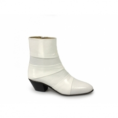 ENRIQUE Mens Cuban Heel Reptile Leather Boots White
