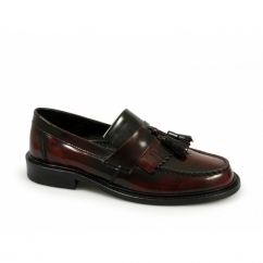 SELECTA Mens Polished Leather Tassel Loafers Oxblood