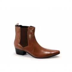 ROMEO Mens Cuban Heel Winklepicker Chelsea Boots Tan