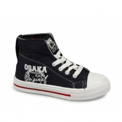 OSAKA Boys Roll Top Ankle Canvas Trainers Denim Blue
