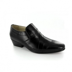 MORALES Mens Soft Leather Cuban Heel Dress Shoes Black