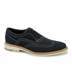 CISSE Mens Suede Leather Brogue Shoes Navy
