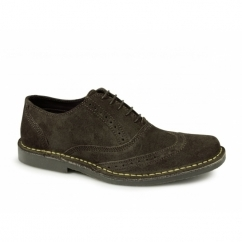 COLE Mens Suede Leather Brogue Shoes Dark Brown