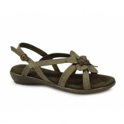 TAMARA Ladies Flat Open Toe Sandals Dark Taupe