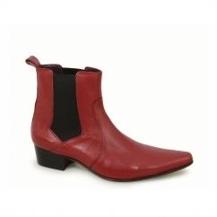 ROMEO Mens Cuban Heel Winklepicker Chelsea Boots Red