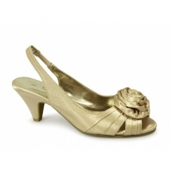 ENYA Ladies Wide E Fit Slingback Satin Shoes Gold