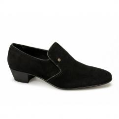 NASSER Mens Suede Leather Plain Cuban Heel Shoes Black