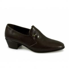NASSER Mens Soft Leather Plain Cuban Heel Shoes Brown