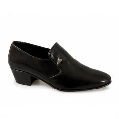 NASSER Mens Soft Leather Plain Cuban Heel Shoes Black