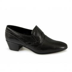 ALVEZ Mens Soft Leather Reptile Cuban Heel Shoes Black