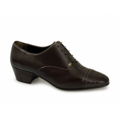 DIEGO Mens Soft Leather Lace Up Cuban Heel Oxford Shoes Brown