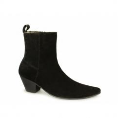 VEER XII Mens Suede Winklepicker Cuban Heel Boots Black