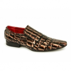 BRENDON Mens Reptile Effect Slip On Shiny Shoes Brown