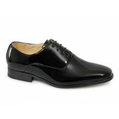 Boys 4 Eyelet Patent Dress Shoes Black