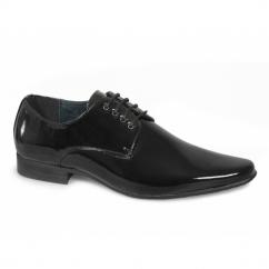 MORGAN Mens 4 Eyelet Pointed Patent Dress Shoes Black