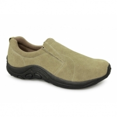 RYNO Unisex Twin Gusset Jungle Casual Suede Trainers Taupe