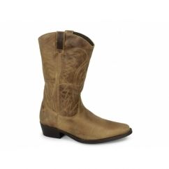 TEXAS HI Mens Calf Length Leather Cowboy Boots Tan