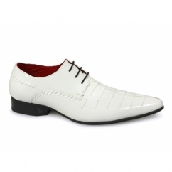 PARIS Mens Funky Pointed Patent Shoes White