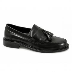 SELECTA Ladies Polished Leather Tassel Loafers Black