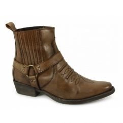 Mens Soft Leather Ankle Cowboy Boots Burnished Tan
