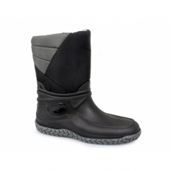 ALPINE Mens Half Length Full Fur Lined Wellington Boots Black
