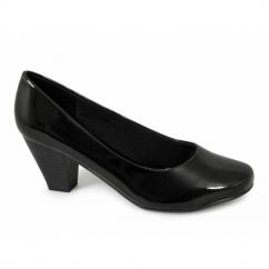 PAULA Ladies Wide Fit Mid Heel Court Shoes Patent Black
