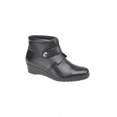 MICHAELA Ladies Leather Velcro Boots Black