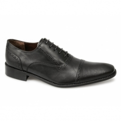 MONTAGUE Mens Leather Semi Brogue Shoes Black