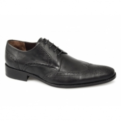 BALTHAZAR Mens Leather Brogue Shoes Black