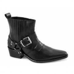 EL-MACHO Mens Harness Leather Cowboy Boots Black