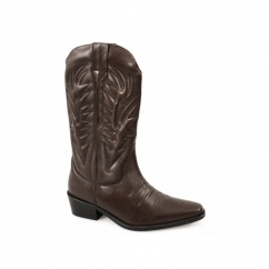 KANSAS Mens Calf Length Leather Cowboy Boots Dk. Brown