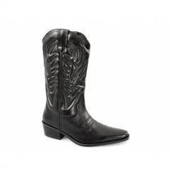 KANSAS Mens Calf Length Leather Cowboy Boots Black
