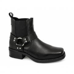 HARLEY Mens Leather Ankle Biker Cowboy Boots Black