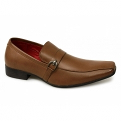 VINCENZO Mens Faux Leather Slip On Shoes Tan