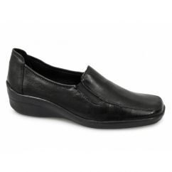 KAITLIN Ladies Leather Wedge Loafers Black