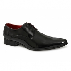 AVELLINO Mens Patent Style Pointed Shoes Black