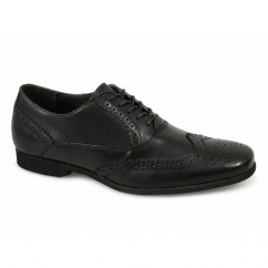 LAGOON Mens Perforated Leather Brogue Shoes Black