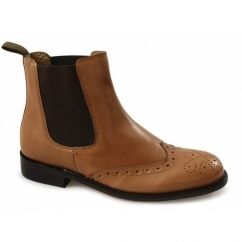 PIETRO Mens Leather Brogue Chelsea Boots Tan