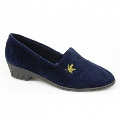 ANDOVER Ladies Heeled Velour Full Slippers Navy