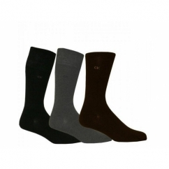 HARPER Mens Cotton Socks 3 Pack Brown/Grey/Black