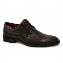 FELIX Mens Faux Leather Lace-Up Perforated Shoes Dark Brown