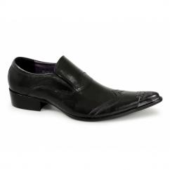 SEBASTIAN Mens Metal Toe Cap Cuban Heel Shoes Black