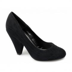 MINERVA Ladies Faux Suede High Heels Shoes Black